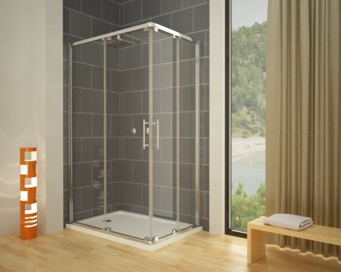 Mampara de ducha cuadrada new glass mundilite for Mampara ducha sin perfil