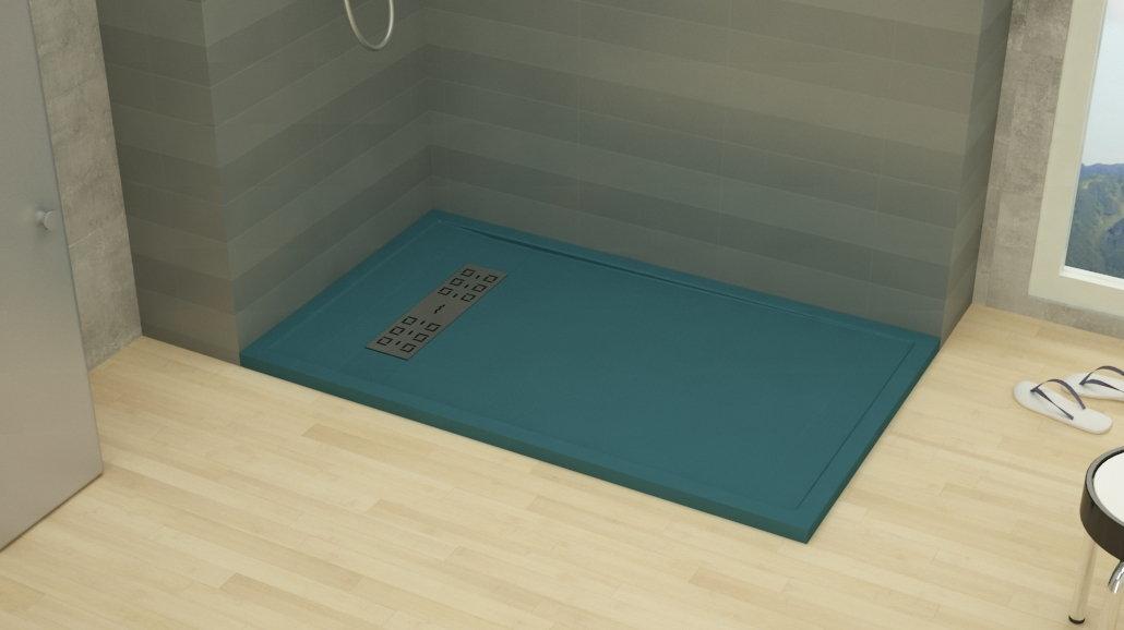 plato de ducha a medida azul