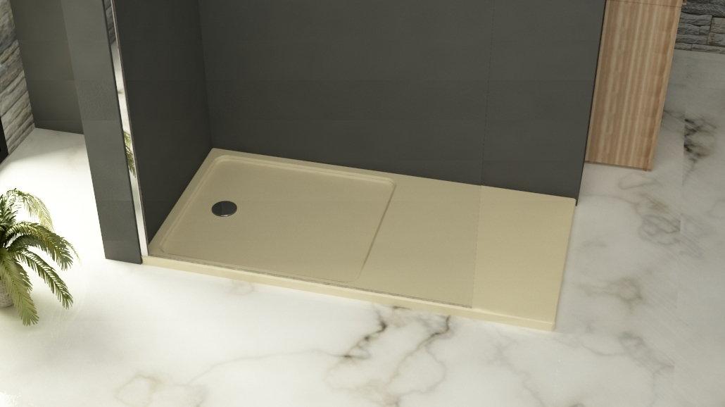 Plato de ducha de poliester color crema