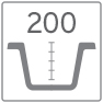 Profundidad cubeta fregadero 200